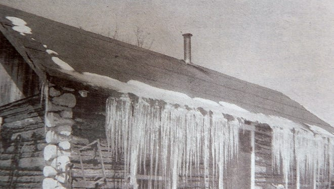 Mother nature decorated the cabin with icicles for Christmas in the 1940s.