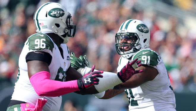 There hasn't been much for Muhammad Wilkerson (left) and Sheldon Richardson (right) to celebrate during this tough Jets' season.