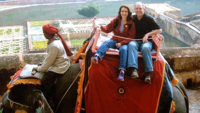 Teresa and Wayne Gardner of Mesa on an elephant ride up to Amber Fort during their Palace on Wheels tour in India.