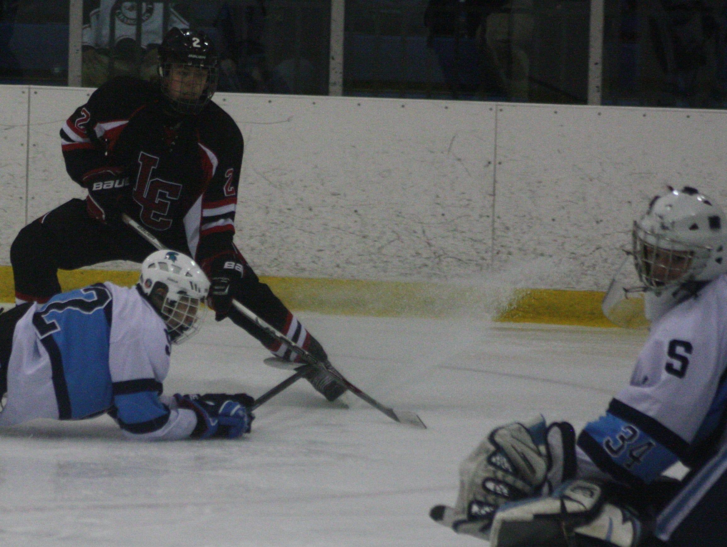 Stevenson goalie Cullen Barber made a glove save on a hard slap shot from Churchill's Josh Friend.