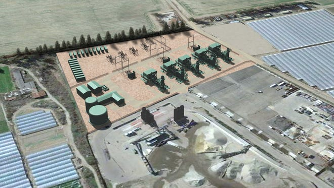 This rendering shows an aerial view of a proposed power plant near Santa Paula.