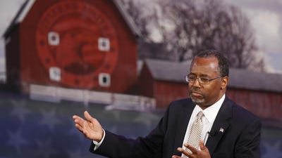 Retired neurosurgeon Ben Carson speaks at the Iowa Freedom Summit in late January.