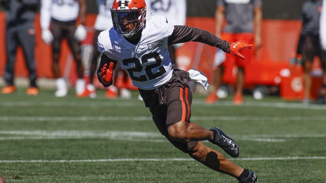 Browns safety Grant Delpit runs through a drill during practice in Berea on Aug. 19.