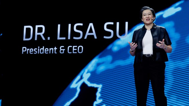 AMD president and CEO Lisa Su speaks during the CES conference in 2019. AMD is pursuing a potential $30 billion merger with rival chipmaker Xilinx Inc., the Wal Street Journal is reporting.