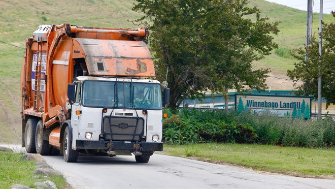 Winnebago Landfill struck a partnership with the Illinois Department of Transportation this week to allow it to conduct cleanup on the Interstate 39 highway leading to its facility. A Rock River Disposal truck leaves the landfill after a drop-off on Friday, June 26, 2020, on Lindenwood Road in Winnebago County.