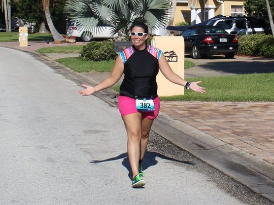 Amanda Reynolds, 31, was 5 months pregnant on the day she completed the Ron Jon Cocoa Beach Triathlon.