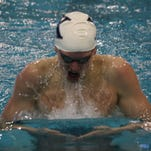 St. Xavier High School sophomore Grant House in the third heat of the 200-yard breaststroke on Jan. 17, 2015 at Miami University in the Southwest Ohio Classic.