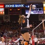 Idaho State's Tressa Lyman (Enterprise 2011) gets a kill against SUU on Thursday, Oct. 18, 2012, in the Centrum Arena. Lyman is one of the Bengals top players.