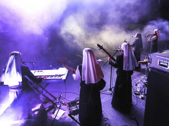 "In this Friday, Sept. 8, 2017, photo provided by Diocese of Orange, ""Siervas,"" a nun rock band peroforms live at the Festival de Cristo at Christ Cathedral in Garden Grove, Calif."