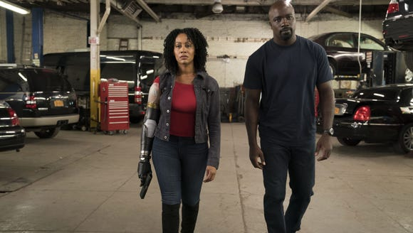 Simone Missick, left, and Mike Colter in Marvel's Luke