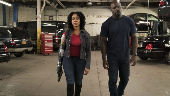 Simone Missick, left, and Mike Colter in Marvel's Luke Cage.