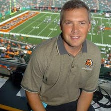 Brad Johansen in the Bengals radio booth before a 2005 game.