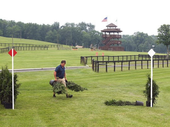 Long Valley resident Morgan Rowsell sets up the starting box at  Moorland Farm. Rowsell is the co-chairman and designer of the Essex Horse Trials on the course he designed for a revival of big horse trials event  in Far Hills. June 23, 2017. Far Hills, NJ.
