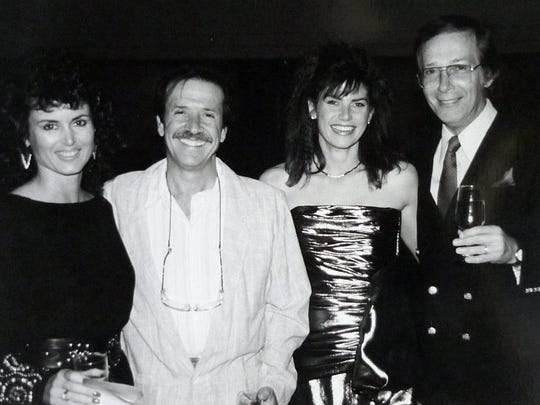 """Sonny Bono and Mary Bono (center) pose with Yolanda Kopell and Bernie Kopell, co-star of """"The Love Boat,"""" in this undated photo."""