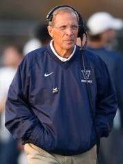 Villanova head coach Andy Talley works on the sidelines in the first quarter at Delaware Stadium Saturday.