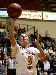 Midwestern State's Kristin Rydell puts in a layup against