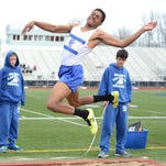 Catholic Central's Ike Marchie finished runner-up in the long jump with a leap of 19 feet, 8.5 inches in Monday's dual against Brother Rice.