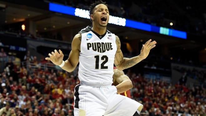 Purdue Boilermakers forward Vince Edwards (12) celebrates after dunking the ball during the second half of the game against the Iowa State Cyclones in the second round of the 2017 NCAA Tournament at BMO Harris Bradley Center on March 18.