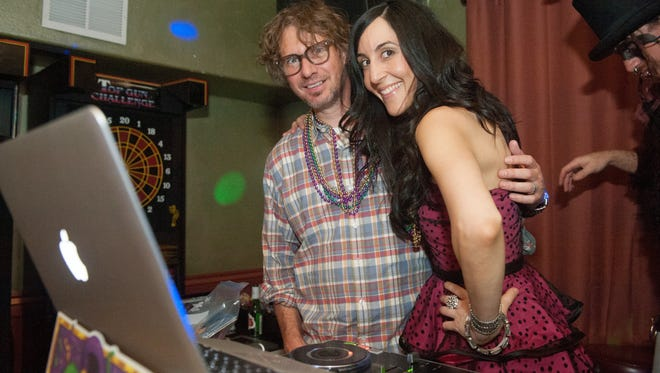 Funkfinger and Roya DJ the night away during Tongue Tied's Mardi Gras Mayhem at Apollo's Lounge in Phoenix on Saturday, March 1, 2014.