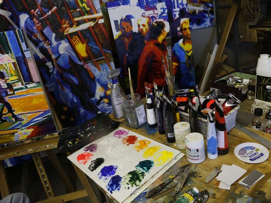 Dale Latta's work space is pictured at his studio Saturday in Aztec.