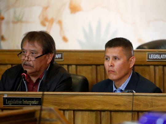 Members of the Resources and Development Committee confirmed Peter Deswood III, right, to serve on the Navajo Agricultural Products Industry board of directors on Friday in Window Rock, Ariz.