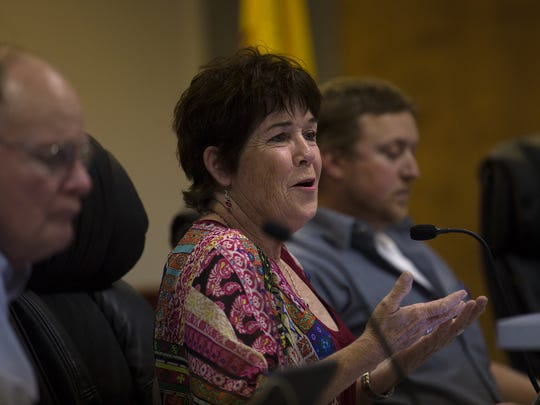 Commissioner Katee McClure speaks during Tuesday's City Commission meeting at Aztec City Hall.