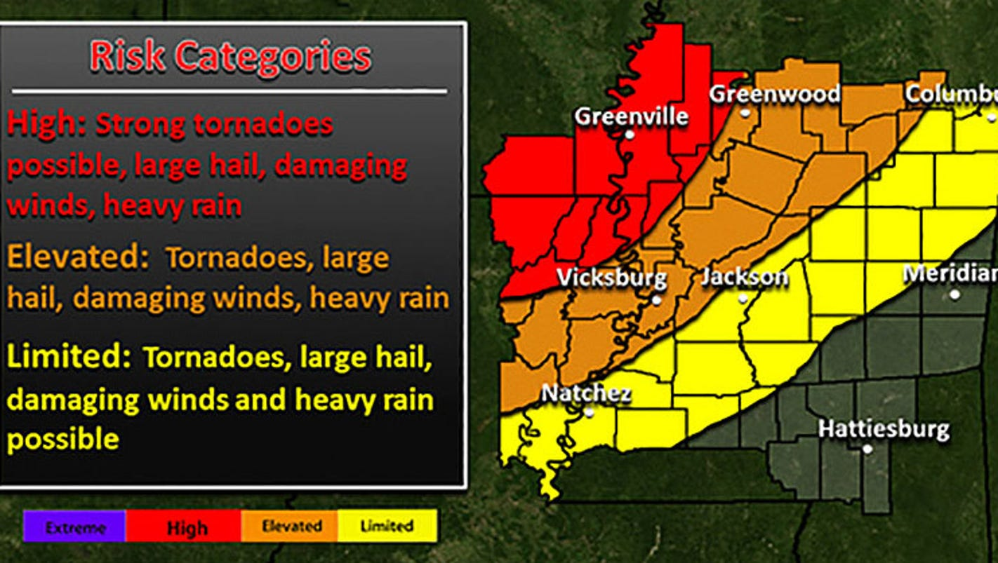 Severe Storms Forecast For Mississippi Sunday Through Tuesday - Us weather map gre