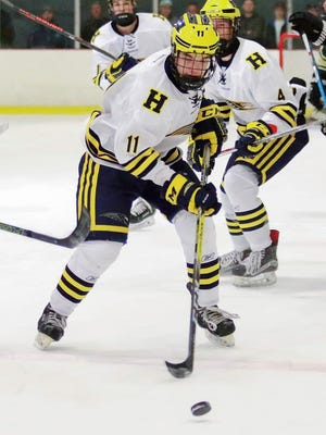 Gabe Anderson had three goals and one assist for Hartland in a 6-5 victory over Livonia Stevenson.