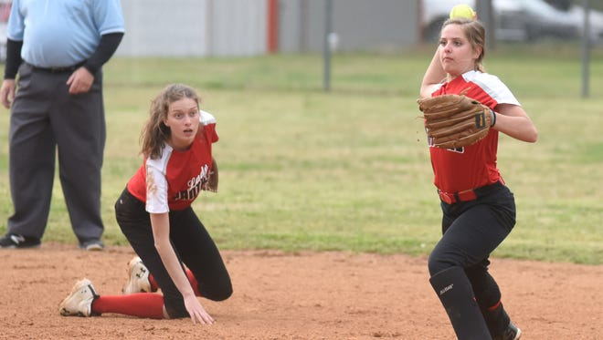 Norfork's Matty Dillard throws to first during the Lady Panthers' 10-9 loss to Izard County in the 1A-2 North District Tournament.