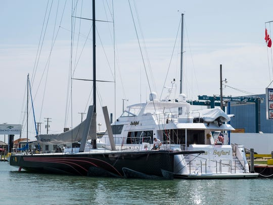 The Il Mostro, a 70-foot ship from Chicago, is tied up along the Black River Wednesday at Desmond Marine during Boat Week. The Il Mostro will be competing in the Class A Division 1 race this weekend.