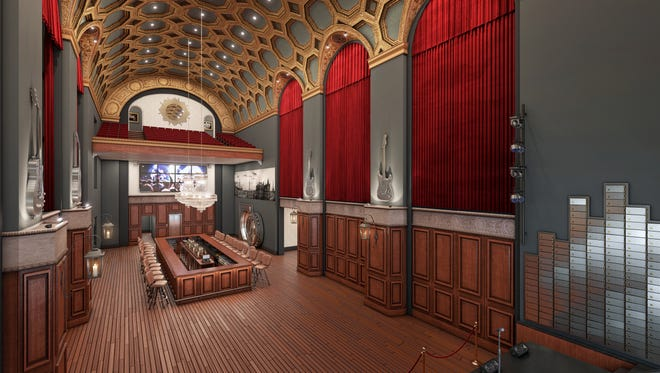 The main event space of The Treasury, as featured in an artist rendering. The space would also feature a nightclub and a rooftop bar.