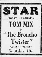 """Broncho, spelled with an """"H,"""" was common at the time when Lafayette Jeff teams first picked up the nickname. This is an ad from the Journal & Courier for """"The Broncho Twister,"""" a 1927 movie starring Tom Mix."""