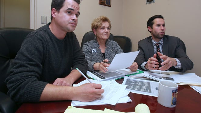 State Sen. David Carlucci, left, and Assembly members Ellen Jaffee and Kenneth Zebrowski meet in Pearl River in November to begin crafting legislation calling for state oversight of the East Ramapo school district.