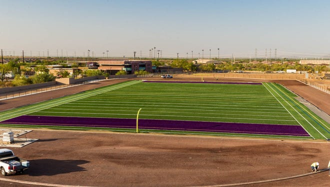 There is a new loop road leading to parking lots and a sports complex that includes a football stadium that Scottsdale Notre Dame feverishly is trying to complete with hopes of playing the last home game there this season.