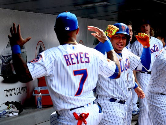 """Jose Reyes has struggled this season, but he got the start at shortstop on Saturday afternoon, with manager Mickey Callaway saying, """"We signed Reyes to do this job and he's still on our team."""""""