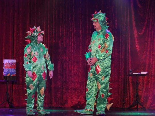 "Piff the Magic Dragon, left, is joined onstage by his mentor and close friend, Penn Jillette. Piff calls Penn his adopted father, or ""Pop the Magic Dragon."""