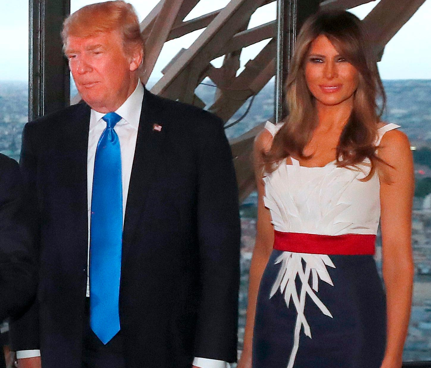 First lady Melania Trump and President Trump ate dinner with the French President and his wife at Le Jules Verne Restaurant on the Eiffel Tower in Paris, on July 13, 2017, part of a a two-day visit.