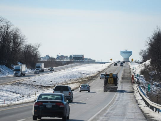 Cars travel in the area of Interstate 78 on Sunday,