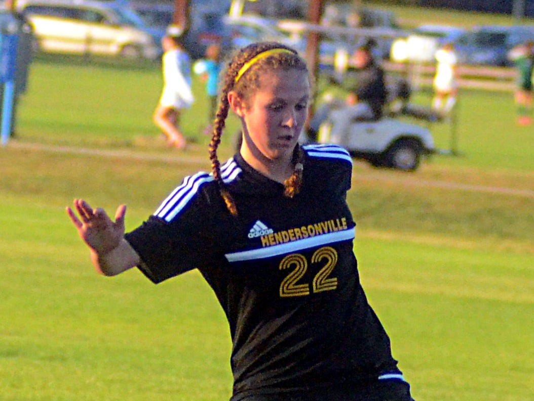 Hendersonville High sophomore Morgan Wettengel gains possession during first-half action.