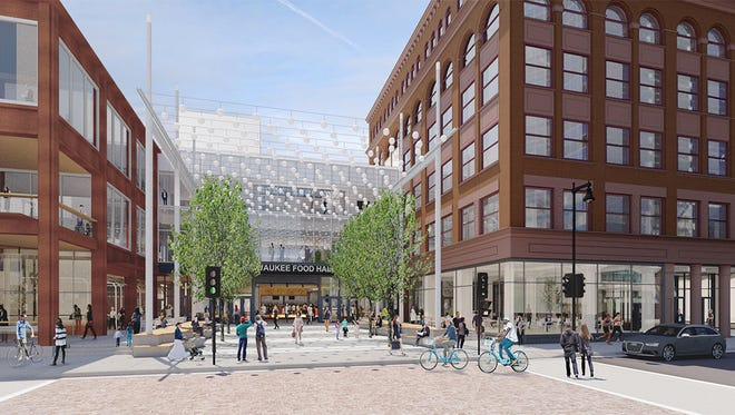 A conceptual plan for the Milwaukee Food Hall's main entrance, on West Wisconsin Avenue, can be found at the website for Interstate Development Partners LLC, which is redeveloping the Grand Avenue mall.