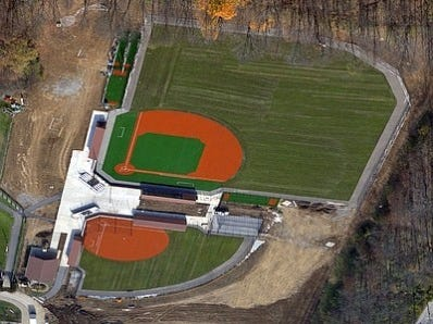 This is an aerial view of Indian Hill High School's baseball/softball complex.