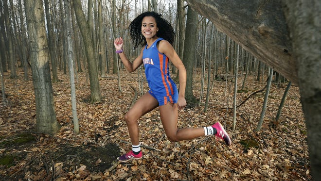 All Greater Rochester girls cross country: Livonia's Hayleigh Palotti, seen hear outside the high school.