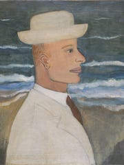 'Portrait of John with Hat' (1935) is an oil on canvas painting by Alice Neel (American, 1900-1984).