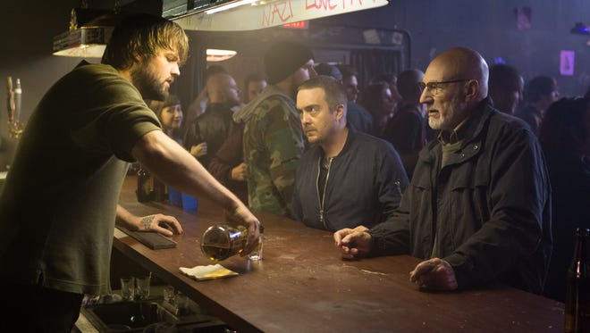 """This is one bar you don't want to visit.  Jake Kasch (from left), Macon Blair and Patrick Stewart star in """"Green Room."""""""