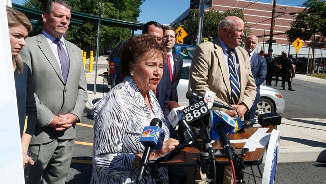 Congresswoman Nita Lowey at press conference announcing $25 million in grants to improve safety at railroad crossings at the Metro-North North White Plains train station on Sept. 12, 2016.