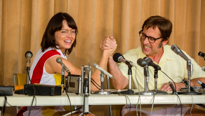 "Tennis stars Billie Jean King (Emma Stone, left) and Bobby Riggs (Steve Carell) are ready to square off on the court in ""Battle of the Sexes."""