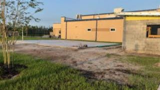 Daytona Beach's new safe zone in front of First Step Shelter is starting to take shape. The concrete base for what will be a pavilion structure is in place, and a cement block guard shack is under construction next to the area where homeless people will be able to stay for part of a day. The safe zone is hoped  to open in August.