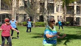 The La Posada senior living community in Palm Beach Gardens holds outdoor exercise classes twice a week in which residents can participate from their patios, balconies and community courtyard. The classes are a way to get seniors moving while also practicing social distancing.