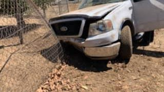 A pickup truck traveling without its right front wheel led authorities on a 5.4-mile high-speed chase Saturday afternoon east of Stockton along Highway 88 to Comstock Road, where it crashed and started a large grass fire.