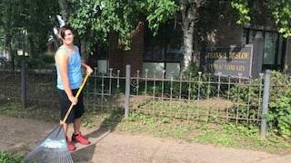 The Herkimer County Youth Employment Program got a late start this year due to the COVID-19 pandemic but has since started finding jobs for youths over the summer. Pictured is one of the youth participants cleaning up brush in front of the Frank J. Basloe Library, in Herkimer.